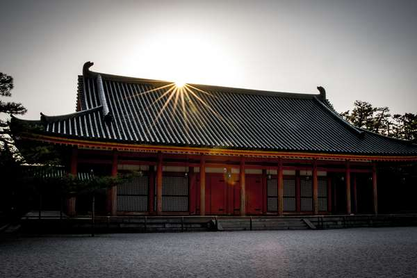 Sunset over a temple in Kyoto, Japan