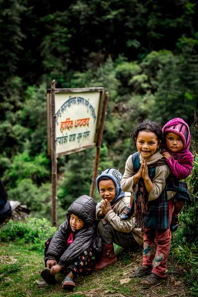 Children greeting us as we passed their village, Nepal