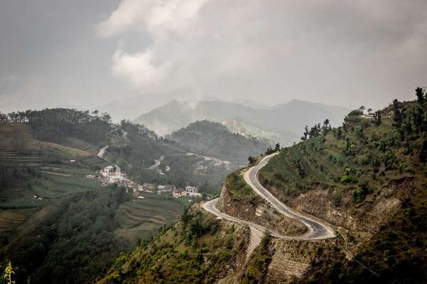A winding mountain road, Nepal