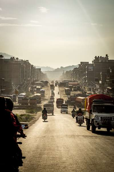 Dust and smog on the road into Kathmandu, Nepal