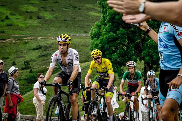 Chris Froome in the yellow jersey ascends the Col de Peyresourde - Tour de France 2017