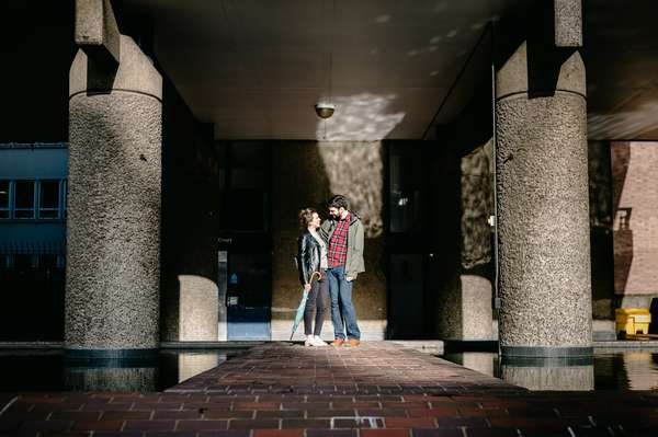 Relaxed engagement and couples photography in Barbican, London