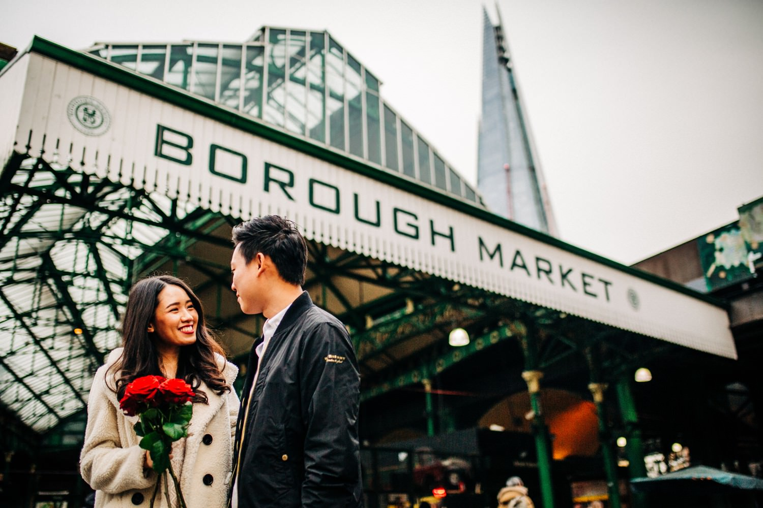 Relaxed engagement shoot at Borough Market, London