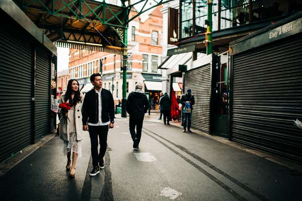 Relaxed engagement shoot at Borough Market, South Bank, London